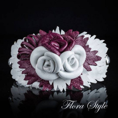 Luxurious genuine leather collar for the Italian greyhound, Chinese crested dog, Poodle, Greyhound - Purple with White Roses