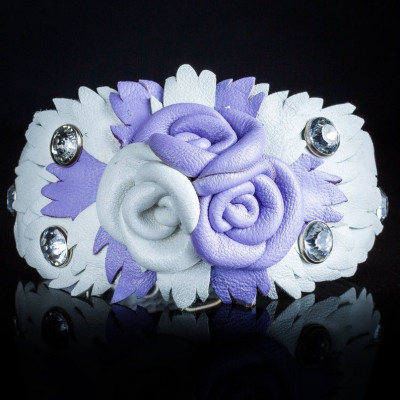 Luxurious genuine leather collar for the Italian greyhound, Chinese crested dog, Poodle, Greyhound - Purple White Rose