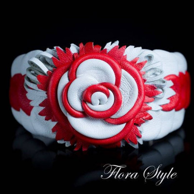 Luxurious genuine leather collar for the Italian greyhound, Chinese crested dog, Poodle, Greyhound - Red White Rose