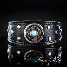 Handmade Luxury Leather Сollar Black Color for Italian Greyhound, Sighthound, Xoloitzcuintli, Poodle, Chinese Crested Dog, small dog collar Summer