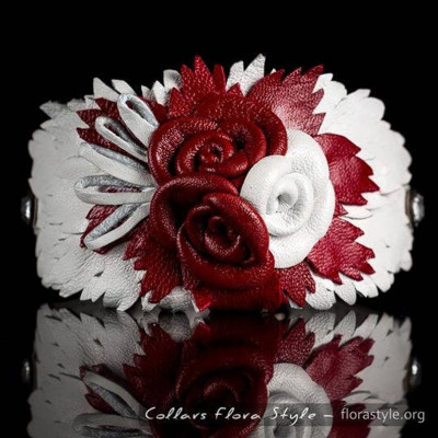 Luxurious genuine leather collar for the Italian greyhound, Chinese crested dog, Poodle, Greyhound - Dark Red White Rose