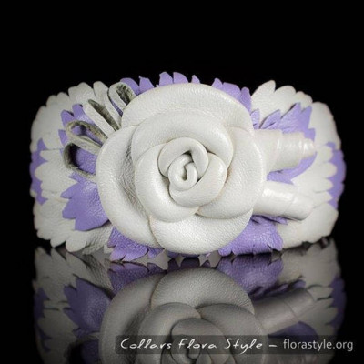Luxurious genuine leather collar for the Italian greyhound, Chinese crested dog, Poodle, Greyhound - White and Purple Rose