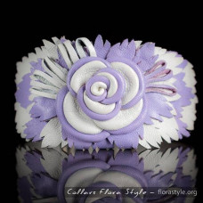 Luxurious genuine leather collar for the Italian greyhound, Chinese crested dog, poodle, greyhound - White Purple Rose