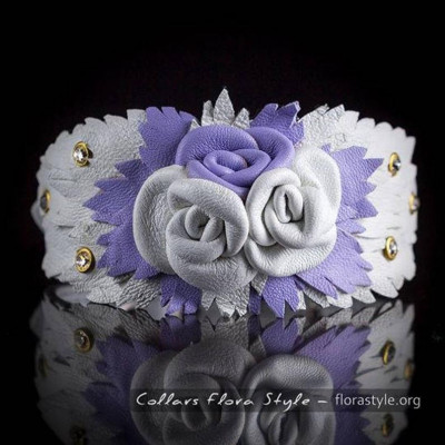Luxurious genuine leather collar for the Italian greyhound, Chinese crested dog, Poodle, Greyhound - White and Purple Roses