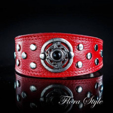 Handmade Luxury Leather Сollar Red Color for Italian Greyhound, Sighthound, Xoloitzcuintli, Poodle, Chinese Crested Dog, small dog collar Summer
