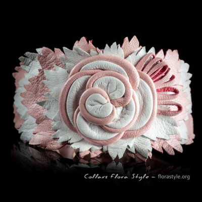 Luxurious genuine leather collar for the Italian greyhound, Chinese crested dog, Poodle, Greyhound - White Pink Rose