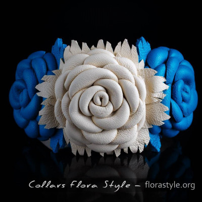Luxurious genuine leather collar for the Italian greyhound, Chinese crested dog, Poodle, Greyhound - Cream Rose on Blue