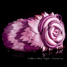 Luxurious genuine leather collar for the Italian greyhound, Chinese crested dog, poodle, Italian greyhound - Purple Rose