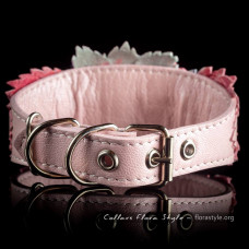 Luxurious genuine leather collar for the Italian greyhound, Chinese crested dog, Poodle, Greyhound - Pink Rose